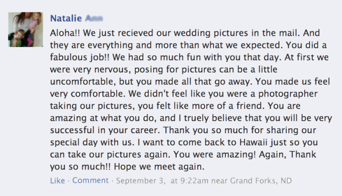 Elusive Visions - Hawaii Weddig Photographer Testimonials 8